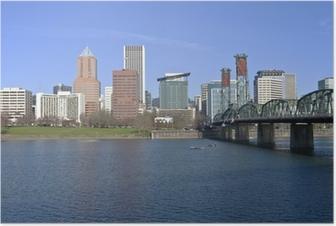 Portland Oregon skyline and river. Poster