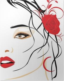 Poster Portrait d'une femme belle avec une rose rouge dans les cheveux