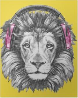 Poster Portrait du Lion avec un casque. Hand drawn illustration.