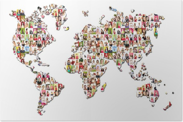 portraits of a lot of people world map poster life