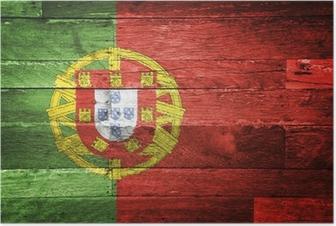 Poster Portugal drapeau peint sur le vieux bois
