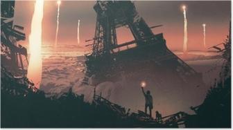 Poster Post-apokalyptiska landskap som visar en man och en hund som står på stadsruiner, digital konststil, illustrationmålning