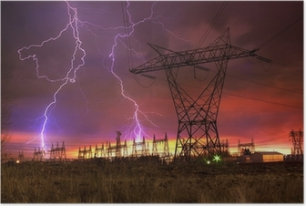 Power Distribution Station with Lightning Strike. Poster