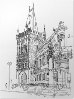 Poster Prague - Tour Poudrière et la Maison Municipale. Vecteur architectural dr