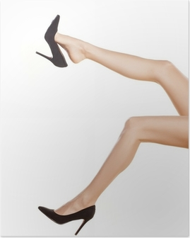 pretty female legs in black shoes with high heels on white Poster