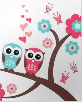 Pretty romantic card with owls Poster
