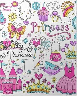 Poster Prinses Sprookje Tiara Notebook Doodles Vector Set