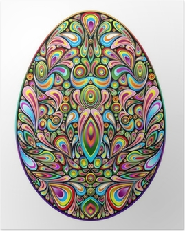 Poster Psychedelic Art Design Påskägg Påskägg Prydnads