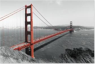 Póster Puente Golden Gate Pop roja en B