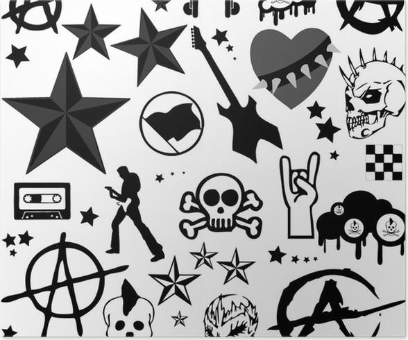 Punkrock Collage Vector Poster Pixers We Live To Change