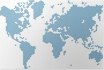 Póster Puntos mapa del mundo sobre fondo blanco, ilustración vectorial.