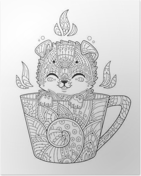 Adult Antistress Coloring Page With Dog In Zentangle Style Doodle Animal Vector Illustration For T Shirt Print Tattoo Logo Poster