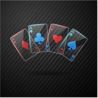 Poster Quatre aces poker en verre cartes à jouer illustration transparente