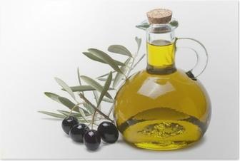 Póster Rama de olivo con aceitunas negras y aceite de oliva.