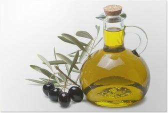 Rama de olivo con aceitunas negras y aceite de oliva. Poster