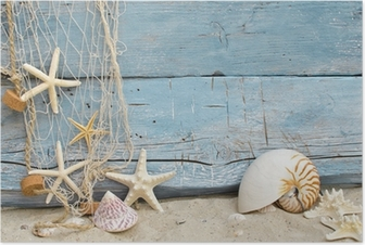 Poster Rappel de vacances Maritime: coquillages, étoiles de mer et filet de pêche