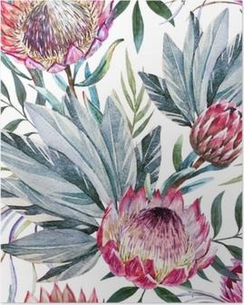 Raster tropical protea pattern Poster
