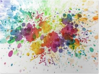 Poster Raster versie van Abstracte kleurrijke splash achtergrond