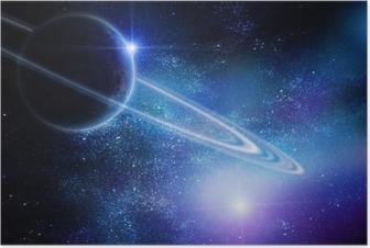Poster Réaliste Saturne en espace ouvert