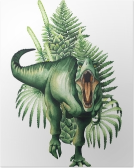 Realistic watercolor dinosaur Poster