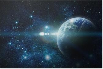 Poster Realistisch planeet aarde in de ruimte