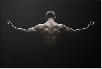 Rear view of healthy young man with arms stretched out Poster