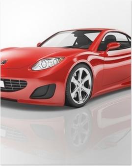 Poster Red 3D Sportwagen