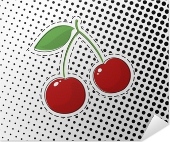 Red Cherry Sticker on White Background with Black Dots, Pop Art Halftone Background, Pins or Patches, Retro Style, Vector Illustration Poster