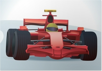 Poster Red F1 Racing Car