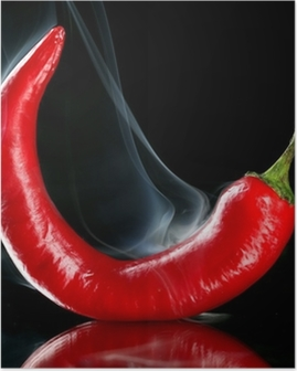 Poster Red hot chili pepper isolé sur fond noir