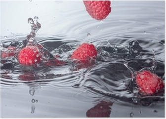 Red Raspberries Dropped into Water with Splash Poster