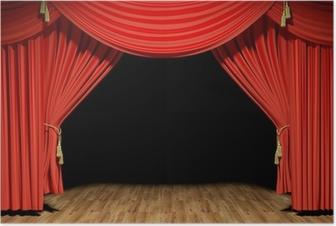 Red stage theater velvet drapes Poster