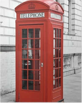 Red telephone booth in London, England Poster