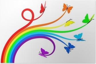 Poster Regenboog vlinders