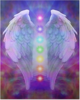 Reiki Angel Wings and Seven Chakras Poster