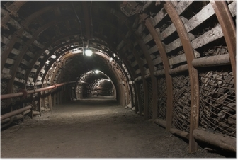 Reinforced tunnel in coal mine Poster