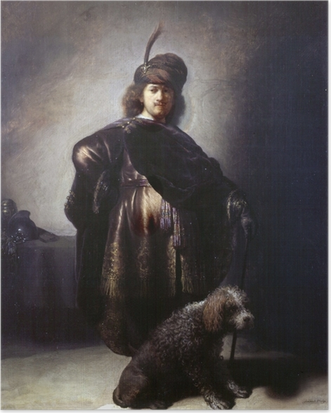 Poster Rembrandt - Autoportrait de l'artiste en costume oriental avec caniche - Reproductions