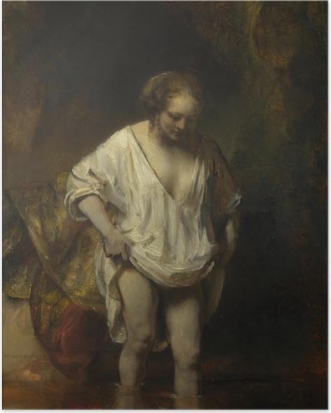 Poster Rembrandt - Femme se baignant dans une rivière - Reproductions
