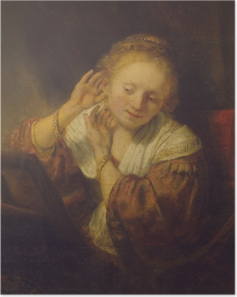 Poster Rembrandt - Jeune Fille aux boucles d'oreilles - Reproductions