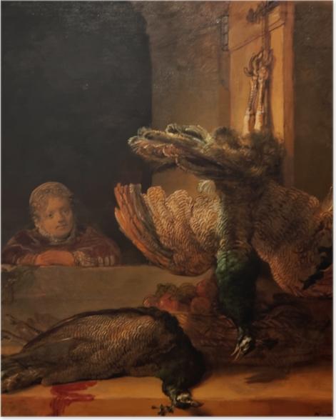 Póster Rembrandt - Naturaleza muerta con dos pavos reales y una niña - Reproducciones