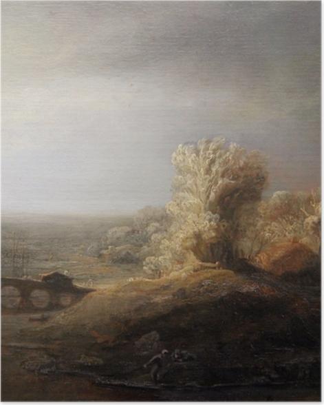 Poster Rembrandt - Paysage avec un pont de pierre - Reproductions