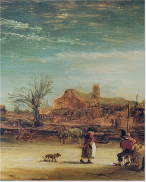 Poster Rembrandt - Paysage d'Hiver - Reproductions