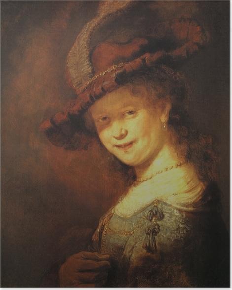 Poster Rembrandt - Saskia van Uylenburg, buste d'une jeune femme souriante - Reproductions