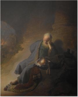 Poster Rembrandt van Rijn - Jeremia treurend over de verwoesting van Jeruzalem