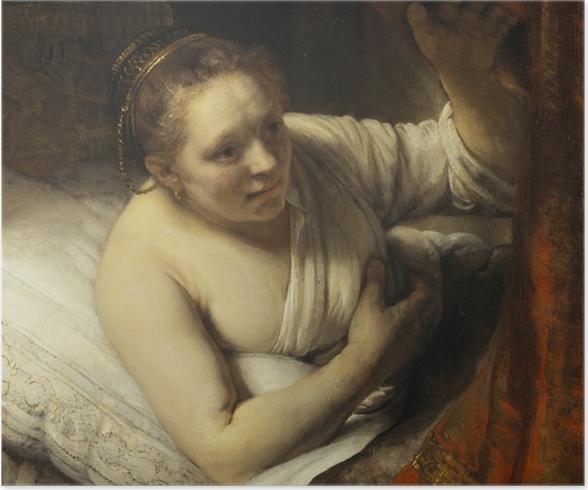 Poster Rembrandt van Rijn - Jonge vrouw in bed - Reproducties
