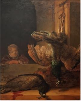 Poster Rembrandt van Rijn - Stilleven met pauwen