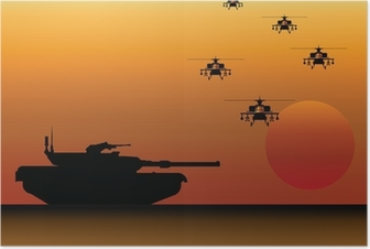 Poster Réservoir et d'hélicoptères militaires