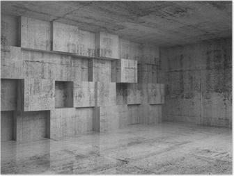 Poster Résumé 3d intérieur en béton avec décoration cubes sur le mur