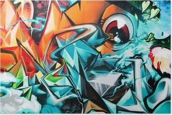 Poster Résumé détail Graffiti sur le mur texturé