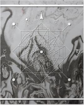 Poster Résumé géométrie mystique, alchimie linéaire, occulte, signe philosophique.